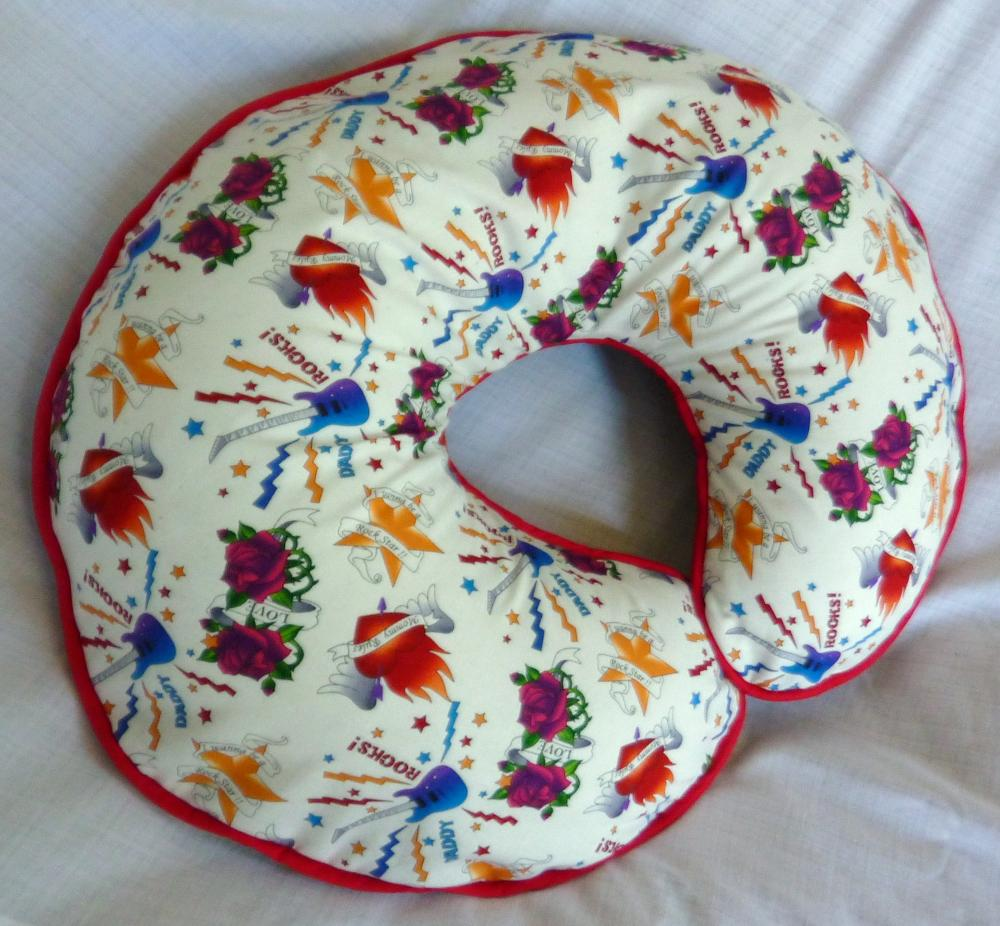 Boppy Pillow Cover White Rock Star Tattoo Nursing Pillow